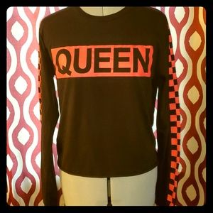 ON FIRE Black & Red Queen Long Sleeve Tee